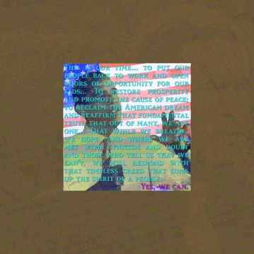 A digital detail of the images used to create the final piece.