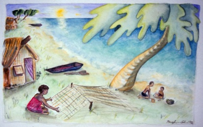 """Fishing nets and Fiji Time • watercolor and pen and ink • 10""""x8"""""""