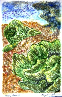 "Cabbage Patch III • Monoprint • 4""x7"""