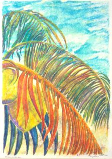 "Palm Leaves & Sea Waves • Double-Plate Monoprint • 18""x24"""