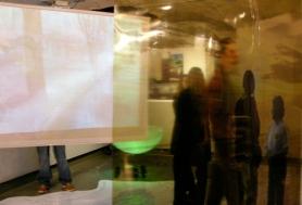 Se(a) Crossings installation, Kresge Art Museum, MSU, East Lansing, opening